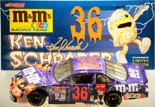 NASCAR Action Ken Schrader #36 - 2000 Pontiac Gran Prix - Halloween M&M's Racing Team / Halloween - 1:24 Scale - Die Cast - Limited Edition - Collectible