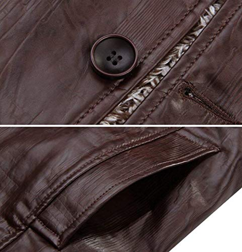 with Jacket Pu Warm Apparel Fleece Parka Huixin Braun Stand Coat Synthetic Mens Missfox Leather Fashion Collar Tops Winter wwqBvU8a