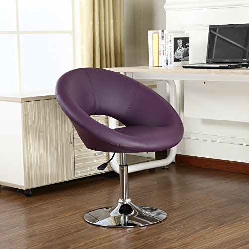 Roundhill Furniture Adjustable Swivel Accent Chair, Purple