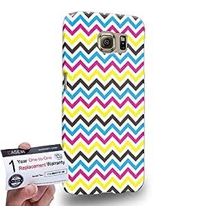 Case88 [Samsung Galaxy S6] 3D impresa Carcasa/Funda dura para & Tarjeta de garantía - Art CMYK Geometric Print Chevron