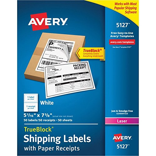 Avery Shipping Labels w/Paper Receipts and TrueBlock Technology for Laser Printers 5-1/16'' x 7-5/8'', Pack of 50 (5127)
