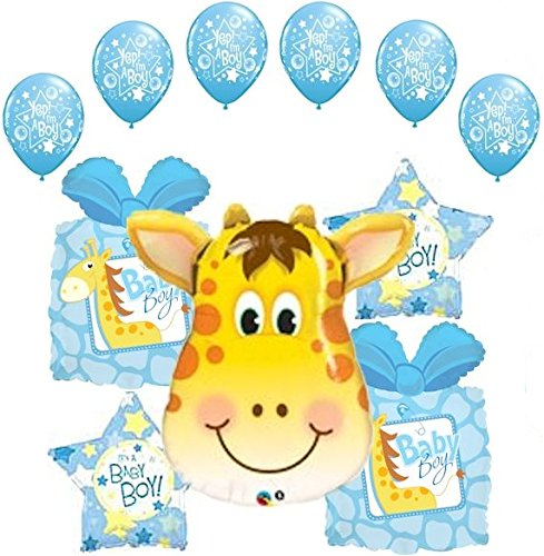 11 pc Giraffe Balloon Bouquet Decoration It's a Boy Baby Shower Welcome Home]()