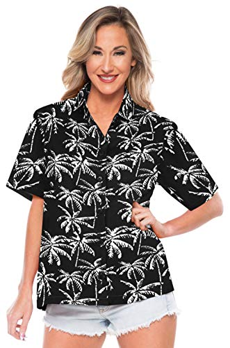 LA LEELA Beach Shirts for Women Button Up Dress Black_AA193 XL - US 40-42E