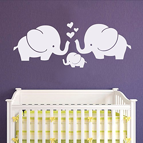 BATTOO Cute Elephants Wall Decal - Elephant Family Baby Nursery Wall Decal Sticker Baby Crib Art D¨¦cor(36