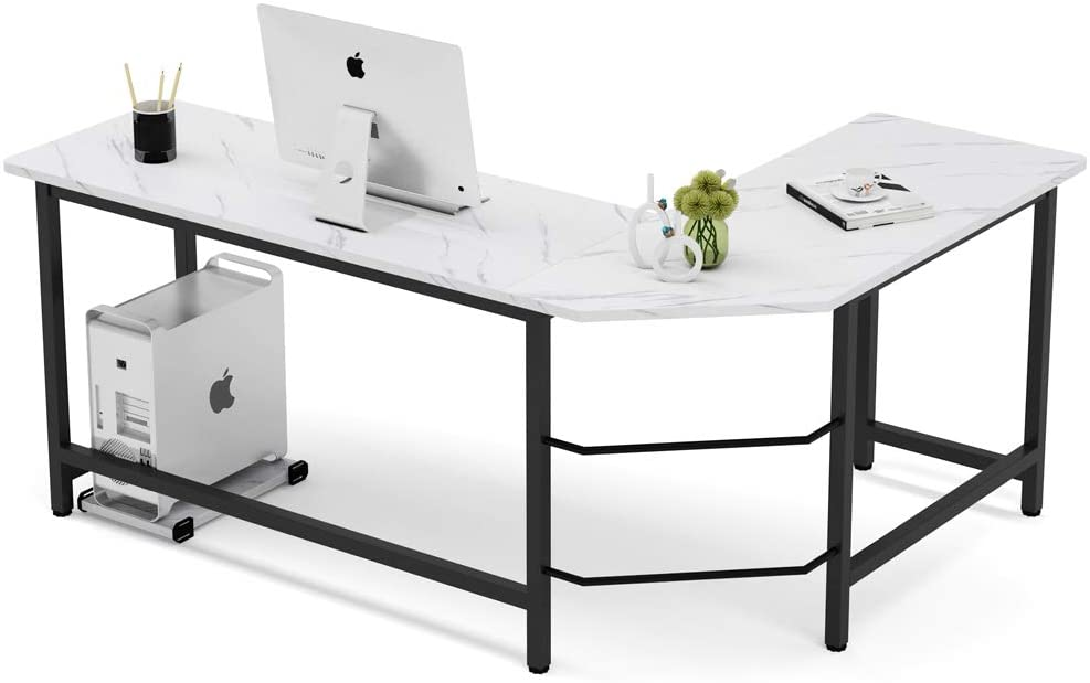 Tribesigns Modern L-Shaped Desk, Corner Computer Desk PC Laptop Gaming Table Workstation for Home Office, White Faux Marble/Black Metal Frame