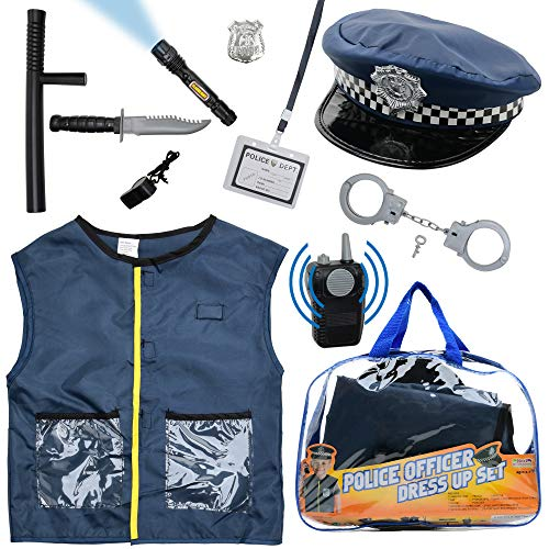 Next Milestones Kids Police Costume 10 Pcs with Police Hat, Handcuff, Vest, Walkie Talkie, Flashlight, Baton - Kids Police Halloween Costume Dress Up for Boys and Girls