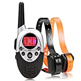 Homdox Water Proof Rechargeable Adjustable Pet Training Collars Water Resistant Dog Training Collar Adjustable E Collar with Wireless Remote, Black
