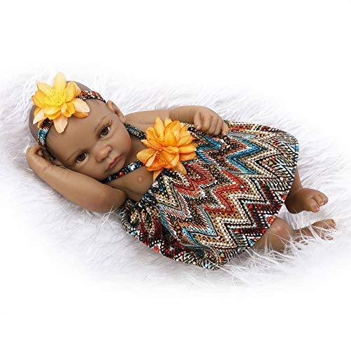 TERABITHIA Mini 11 Black Alive Reborn Baby Dolls African American Silicone Full Body Girl NPK