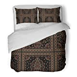 SanChic Duvet Cover Set Red Abstract Traditional Indian Dark Pattern Yellow Arabian Decorative Bedding Set with Pillow Sham Twin Size