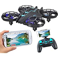 ANNONGONE FPV RC Quadcopter Drone 0.3MP HD Wifi Camera Mini Drone High Hold Mode Real Time Live Video 4 Channel 2.4GHz 6-Gyro RC Helicopter 515V Blue