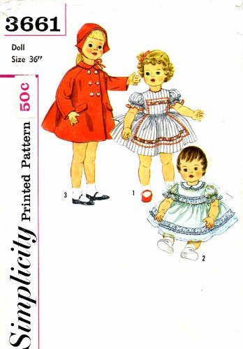 "Playpal Barbara Jo Life Size Doll Wardrobe 1960s Simplicity 3661 Vintage Sewing Pattern Fits 36"" Doll"