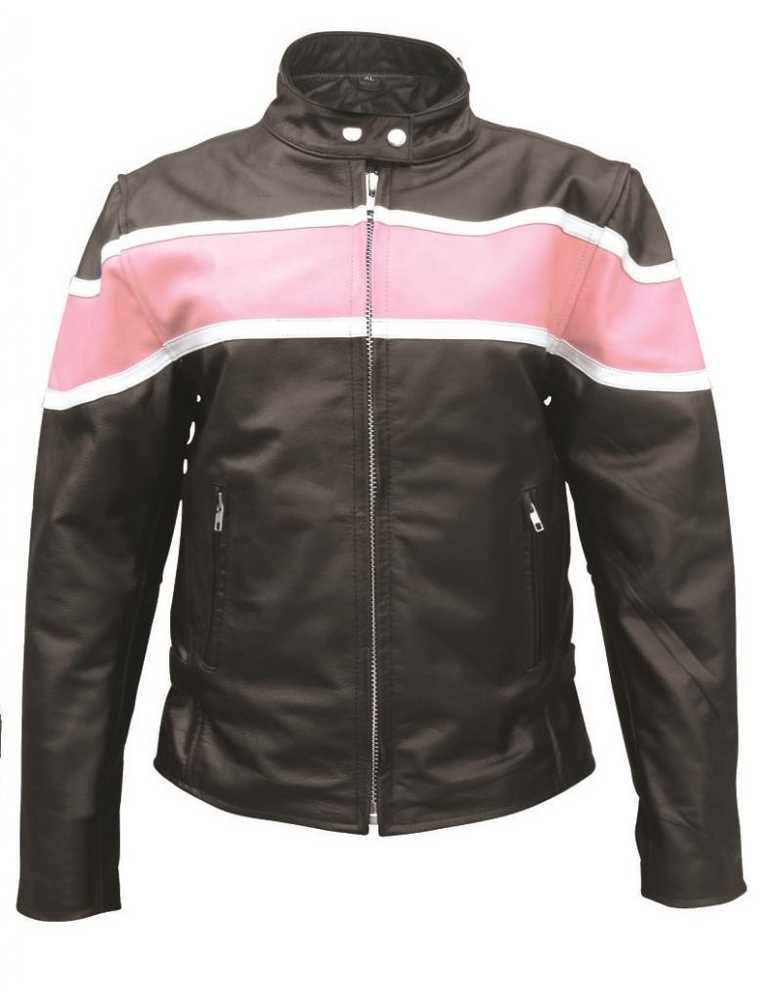 Ladies Pink Two Tone Riding Jacket W//Zipout Lining Buffalo Leather