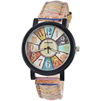 Womens Artificial Leather Vintage Pattern Analog Quartz Wrist Watch Coffee 24.5cm