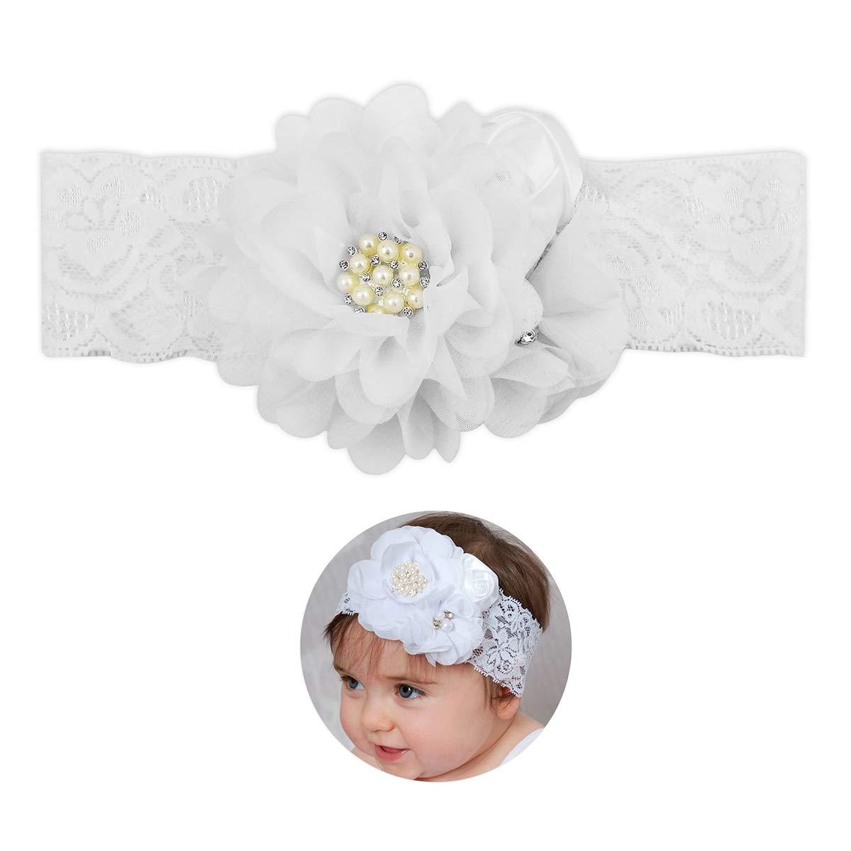Baby Girl Ivory//Off White Christening Headband Baptism Wedding Lace Hairband Bow