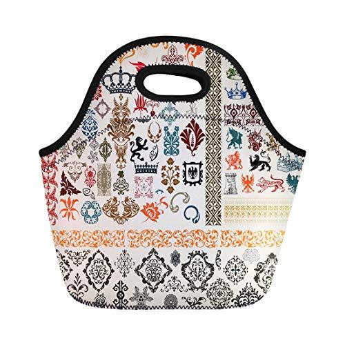 Semtomn Lunch Bags Pattern Medieval Border Crest Scroll Crown Floral Ornate Dragon Neoprene Lunch Bag Lunchbox Tote Bag Portable Picnic Bag Cooler Bag ()