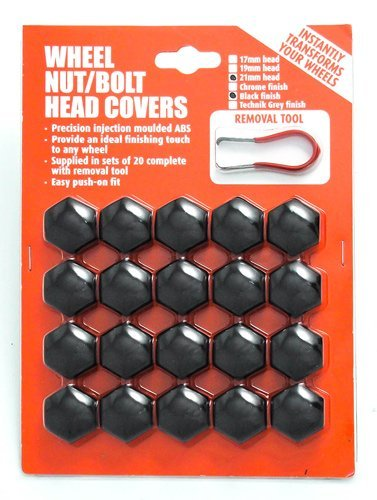 19mm Hex Black Plastic Car Alloy Wheels Wheel Nut / Bolt Head Caps Covers Set Of 20 With Puller Removal Tool