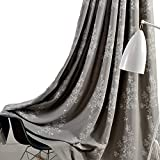VOGOL Polyester Cotton Grommets Curtains,Branch Leaves Embroidery Curtain Drapes Panels for Bedroom Restaurant Hotel and Living Room, 2 Panels, W60 x L106 inch, Grey Review