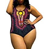 Minisoya Plus Size Women African Ethnic Printed Monokini Dashiki Swimwear Push-Up Swimsuit Beachwear Bathing Suit