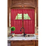 GorgeousHomeLinen (#66) New Kitchen Collection 3pc Set Voile Sheer Kitchen Curtain Window Dressing in Solid Colors (DEEP RED)