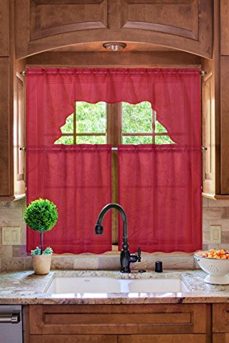 Midwest Kitchen Window Curtain Set 3pc Light Filter in Solid Colors (K66 RED) (Sets Kitchen Window Curtain)
