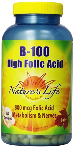 Nature's Life B-100, High Folic Acid,  250 Capsules - Folic Acid B-50 250 Capsules