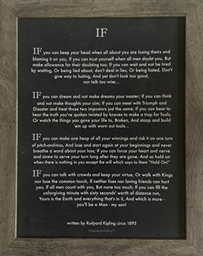 - Desiderata Gallery Brand, Framed Classic If Quote by Rudyard Kipling (Author of The Jungle Book) 8x10 Art Card Photo Print
