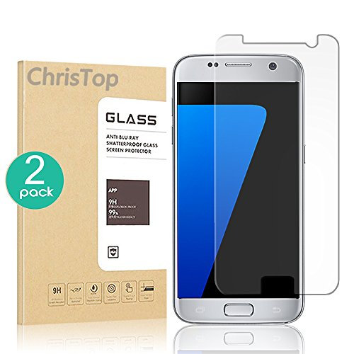 [2 Pack] Galaxy S7 Screen Protector, Chris Top Glass Protector [Tempered Glass] 9H Hardness, Bubble Free [Case Friendly]