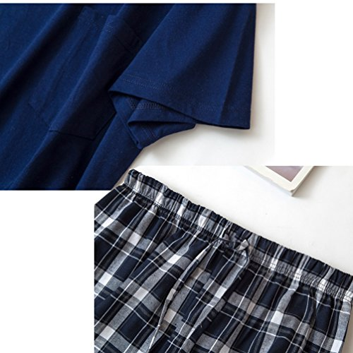 846daa90660 ENJOYNIGHT Men s Summer Short Sleeve Pajamas Adult Casual Shorts   Shirt PJ  Set