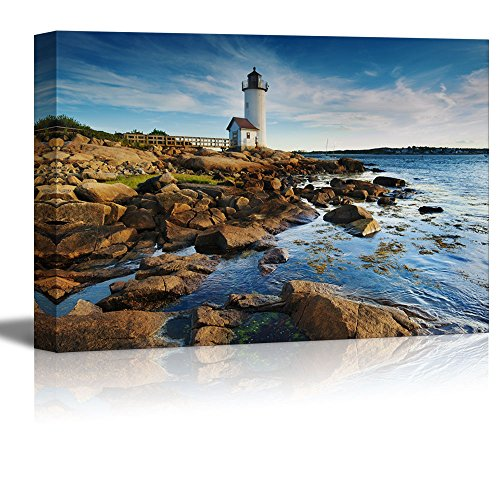 Canvas Prints Wall Art - Beautiful Landscape/Scenery Annisquam Lighthouse by the Sea in Massachusetts | Modern Wall Decor/ Home Decoration Stretched Gallery Canvas Wrap Giclee Print & Ready to Hang - 16