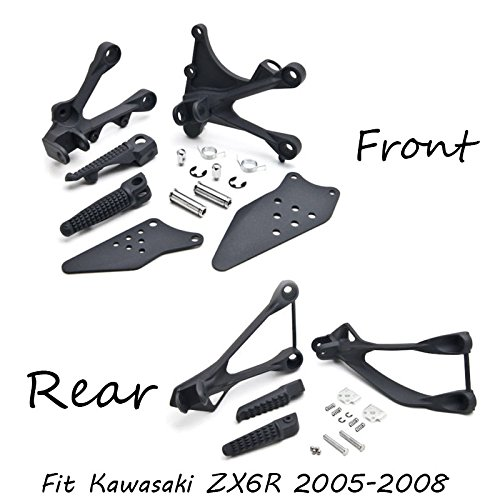 (Black Front and Rear Passenger Foot Peg Bracket Fit For Kawasaki Zx6R 2005-2008)