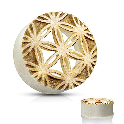 - Blue Palm Jewelry Pair of Flower of Life Center Cut Out Saddle Fit Organic Crocodile Double Flare Wood Plug Tunnel E544