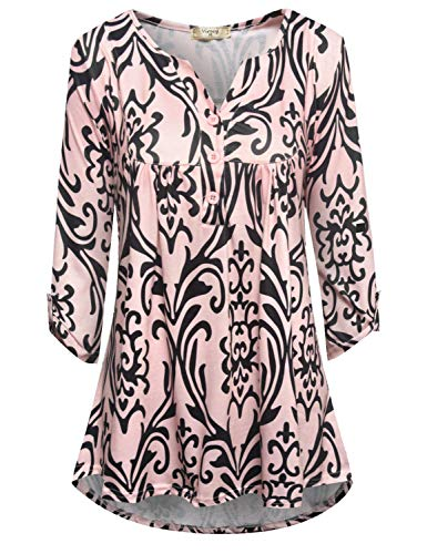 Viracy Business Casual Tops for Women, Female Flattering Shirts Crew Neck 3/4 Sleeve Cute Loose Paisley Designer Blouse Graceful Modest Work Tunic Henleys 2018 Prime Beige Print XL ()