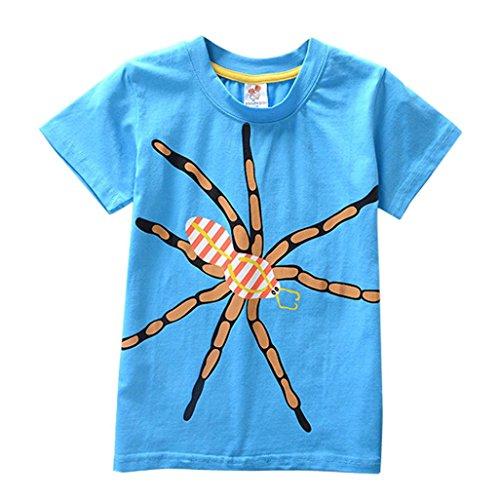(PENATE Baby Kid Boy Short Sleeve T-Shirt Casual Cartoon Soft Cotton Blouse 2-8T (Spider,)