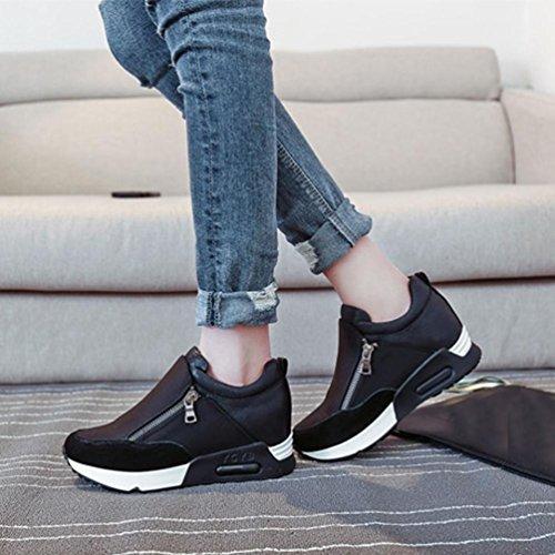 Zapatillas De Moda Para Mujer De Tacón Oculto Deportes Casual Cuñas Para Caminar Zapatos De Plataforma (6.5, Negro) Negro