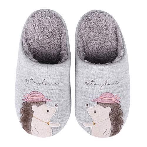 Girl Hedgehog - Cute Animal House Slippers Fuzzy Hedgehog Bedroom Slippers Waterproof Sole Indoor Outdoor Slippers 16P-S