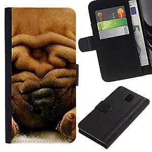 Graphic Case / Wallet Funda Cuero - Chinese Shar-Pei Dog Fur Brown - Samsung Galaxy Note 3 III N9000 N9002 N9005