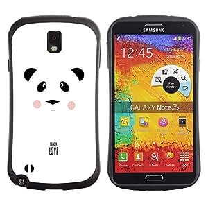 Suave TPU GEL Carcasa Funda Silicona Blando Estuche Caso de protección (para) Samsung Note 3 / CECELL Phone case / / Panda Love Minimalist White Black Text /