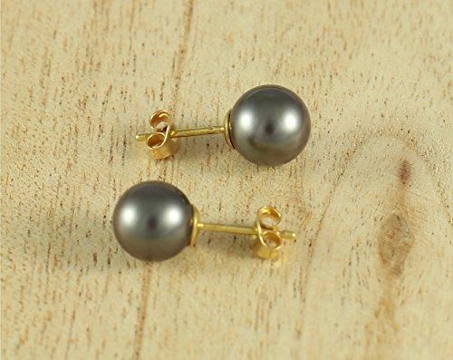 Ocean Black Pearl - Boucles d'oreilles Femme - Perles de culture de Tahiti - 8mm - Or 18 Carats - Bo LB3