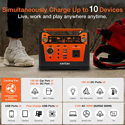 AIMTOM 300-Watt Portable Power Station – 280Wh Battery Powered Generator Alternative with 12V, 24V, AC and USB Outputs – Solar Rechargeable Lithium Backup Power – for Camping Outdoors CPAP Emergency