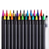 ONE PIX Real Brush Pens, 24 Colors for Watercolor Painting with Flexible Nylon Brush Tips, Vibrant Paint Markers for Coloring, Calligraphy and Drawing with Water Brush for Artists and Beginners