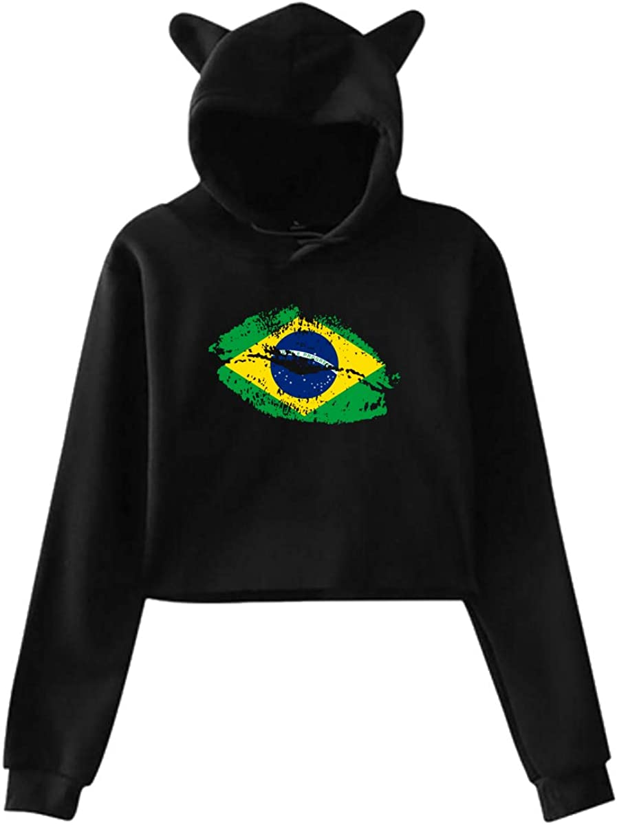 Brazil Flag Lips Womens Kawaii Cat Ear Crop Top Hoodie Sweater Jacket Pullover