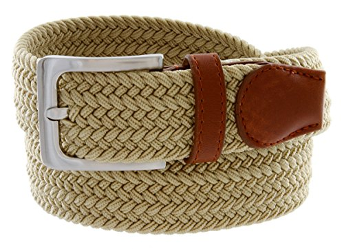 Braided Elastic Fabric Woven Stretch Belt Leather Inlay (Beige, Medium)