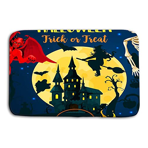 Yugfhj Doormat Indoor Outdoor Halloween Castle Dracula Monsters Ghost Halloween Trick Treat Party Invitation Autumn Holiday Horror House mat
