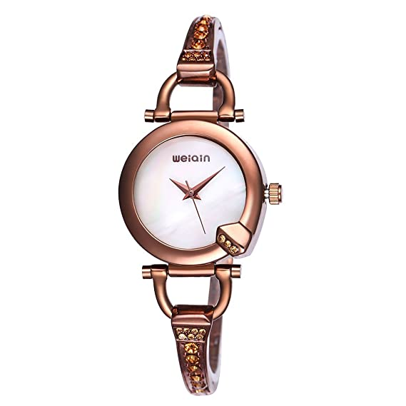 WEIQIN Rhinestone Pulsera de oro rosa reloj mujer analógico quartz-watch pulsera Fashion relojes reloj