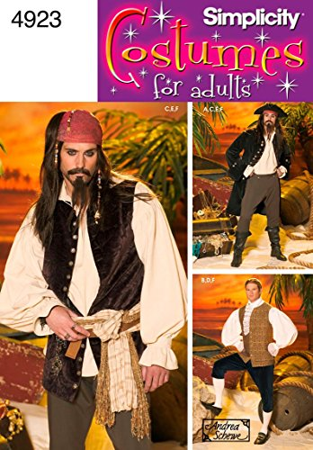 (Simplicity 4923 Pirate Costume for Adult Men by Andrea Schewe, Sizes BB)