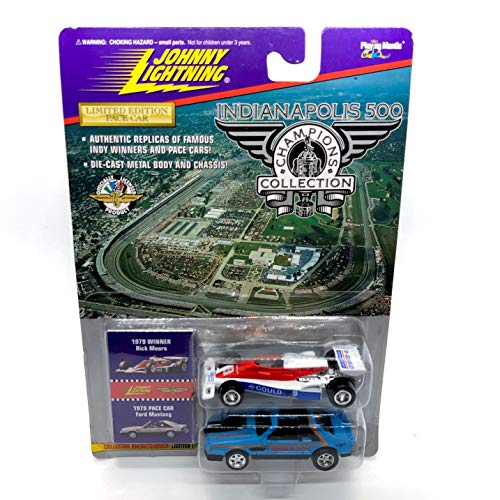 Johnny Lightning 1979 Rick Mears & Ford Mustang Pace Car (Blue) Indianapolis 500 Champions Series 1 1996 Playing Mantis 1:64 Scale Authentic Replicas of Famous Indy Winners Die Cast Vehicle 2-Pack ()