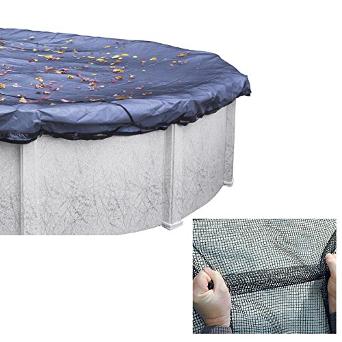 Swim Central 24' Deluxe Jet Black Closing Leaf Net Cover for Above Ground Swimming Pools