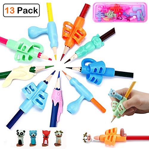 - Pencil Grips - Children Pen Holder Ergonomic Writing Aid Set Finger Grip Trainer Posture Correction Tool for Preschooler Kids Boys Girls(13PCS) (Pink)
