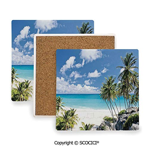Ceramic Coaster With Cork Mat on the back side, Tabletop Protection for Any Table Type, Square coaster,Summer,Bottom Bay Barbados Beach Tropical Palms Ocean,3.9
