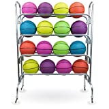 Heavy Duty Rolling Steel Ball Cart - Holds up to 16 Regulation Size Basketballs!